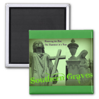 Southern Graves Goes Green Square Magnet