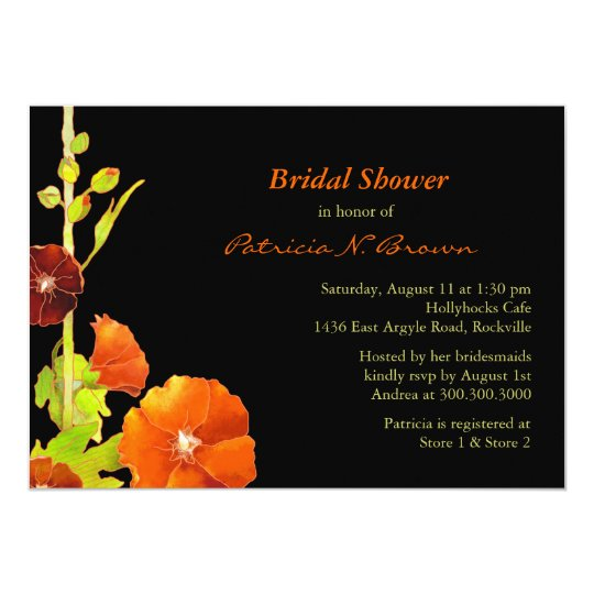 Southern Hollyhocks Fall Bridal Shower Card