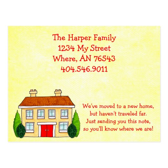 Southern Home Moving New Address Announcement Postcard