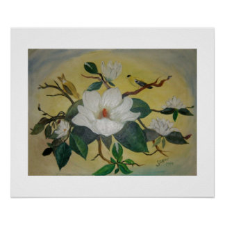 Southern Magnolia and Goldfinch Art Poster