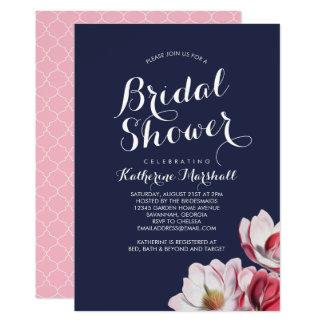Southern Magnolia Bridal Shower Midnight Blue Card
