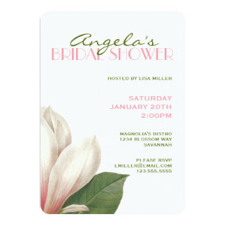 Southern Magnolia Bridal Shower | Pink White Green Card
