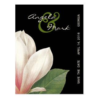 Southern Magnolia Flower Wedding | Elegant Black Postcard