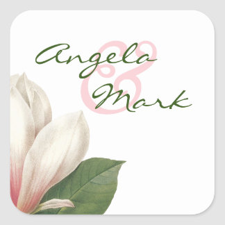 Southern Magnolia Flower Wedding | Pink and White Square Sticker