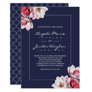 Southern Magnolia Wedding Midnight Blue Card