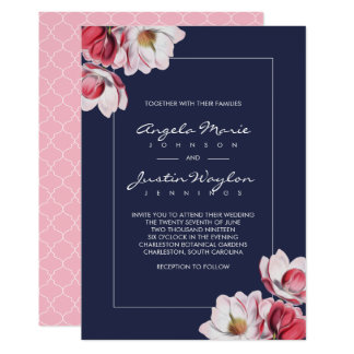 Southern Magnolia Wedding Pink and Blue Card