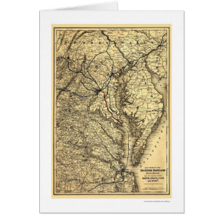 Southern Maryland Railroad Map 1881 Card