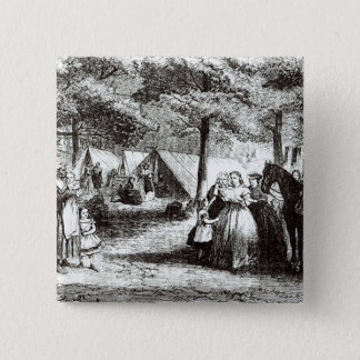Southern refugees encamping in the woods 15 cm square badge