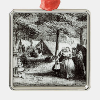 Southern refugees encamping in the woods Silver-Colored square decoration