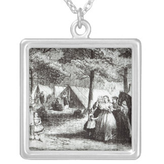 Southern refugees encamping in the woods silver plated necklace