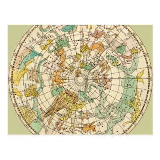 Southern Sky Star Chart and Constellations Map Postcard