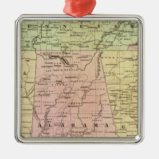 Southern States Olney Map Silver-Colored Square Decoration