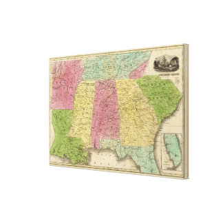 Southern States with South Part of Florida Canvas Print