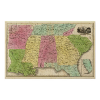 Southern States with South Part of Florida Poster