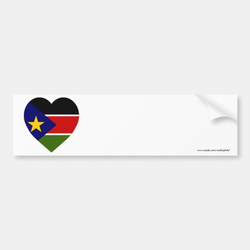 Southern Sudan Flag Heart Bumper Stickers