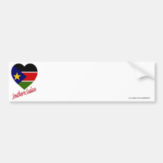 Southern Sudan Flag Heart with Name Bumper Stickers