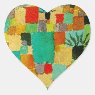Southern (Tunisian) gardens by Paul Klee Heart Sticker