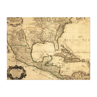 Southern United States and Central America Map Canvas Print