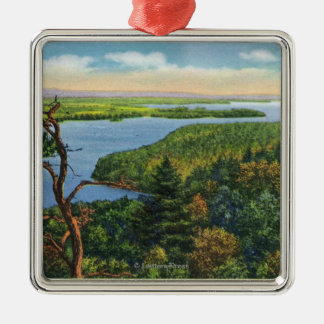 Southern View of Lake from Split Rock Light Silver-Colored Square Decoration