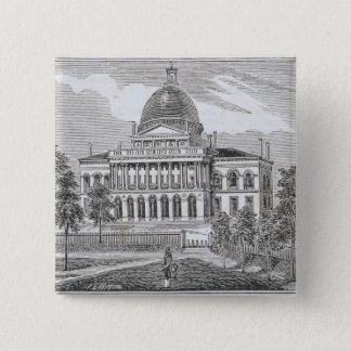 Southern view of the State House in Boston 15 Cm Square Badge