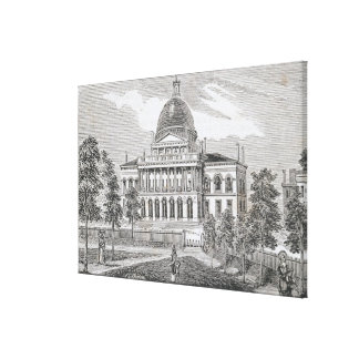 Southern view of the State House in Boston Canvas Print