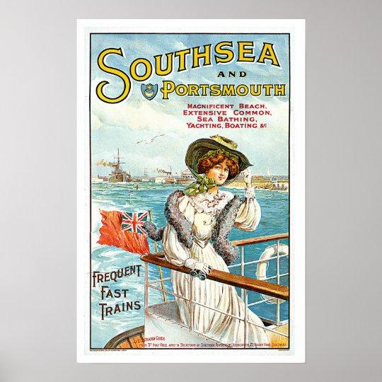 Southsea & Portsmouth UK Vintage 1905 Travel Art