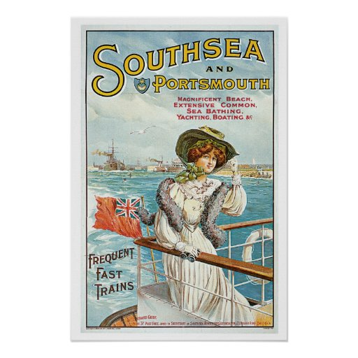 Southsea Portsmouth Vintage Travel Poster