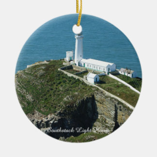 Southstack Light House Wales. Round Ceramic Decoration