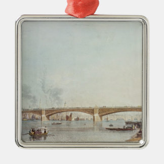 Southwark Bridge, West Front, from Bankside Silver-Colored Square Decoration