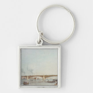 Southwark Bridge, West Front, from Bankside Silver-Colored Square Key Ring