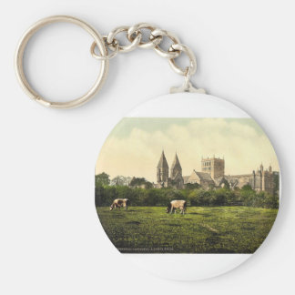Southwell Cathedral and abbey ruins, Notts, Englan Basic Round Button Key Ring