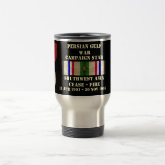 SOUTHWEST ASIA CEASE - FIRE CAMPAIGN STAINLESS STEEL TRAVEL MUG