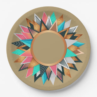 Southwest Aztec Mexican Geometric Aqua Tan Pattern Paper Plate