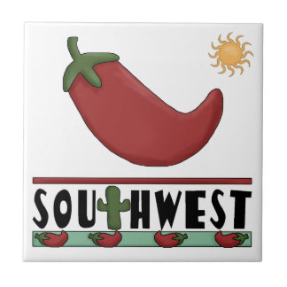 Southwest Big Red Chili Pepper and Cactus Small Square Tile