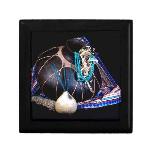 Southwest Black Pot Incense Turquoise Necklace Keepsake Box