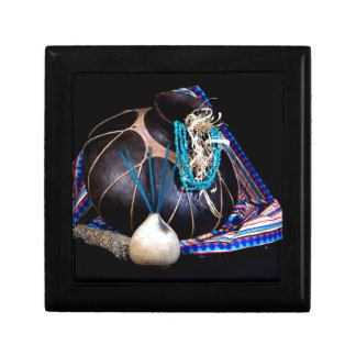 Southwest Black Pot Incense Turquoise Necklace Small Square Gift Box