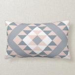 Southwest Blanket Pattern Blush and Grey Lumbar Cushion