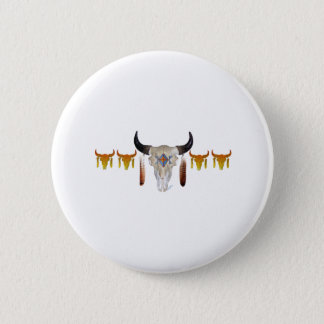 Southwest Buffalo Skull 6 Cm Round Badge