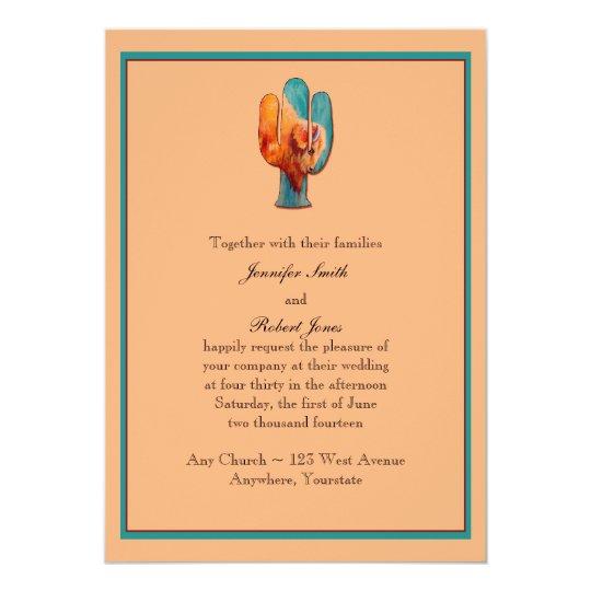 Southwest Cactus and Buffalo Wedding Invitation