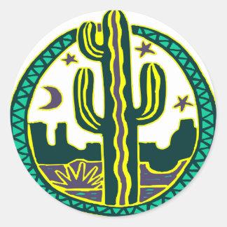 Southwest Cactus Classic Round Sticker