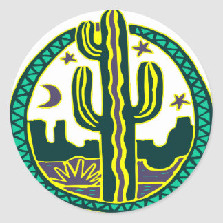 Southwest Cactus Round Sticker