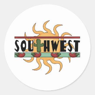 Southwest - Chili Peppers & Sun Classic Round Sticker