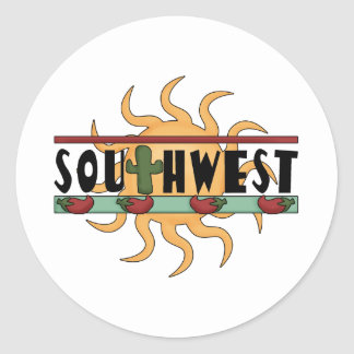 Southwest - Chili Peppers & Sun Round Sticker