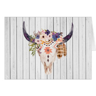 Southwest Cow Skull Tribal Markings and Flowers Card