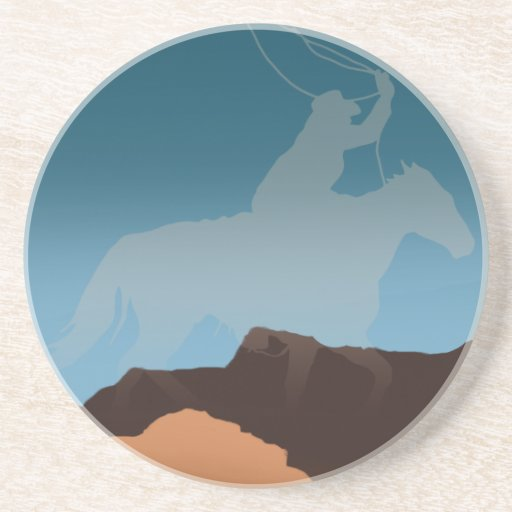 Southwest Cowboy Silhouette Drink Coasters