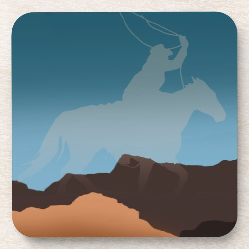 Southwest Cowboy Silhouette Drink Coaster