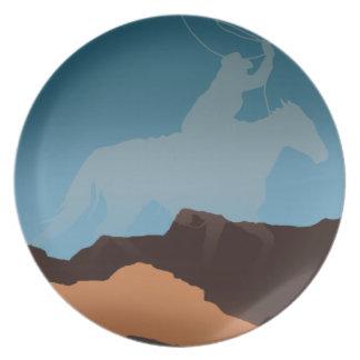 Southwest Cowboy Silhouette Party Plate