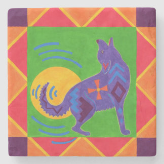 Southwest Coyote Drum Stone Coaster