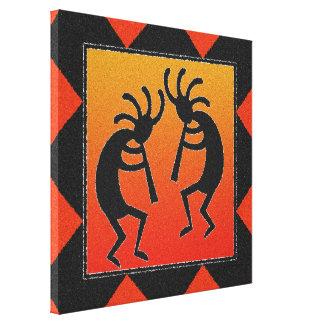 Southwest Dancing Kokopelli Design Canvas Print