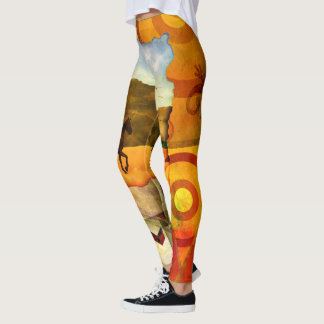 Southwest desert horse collage leggings
